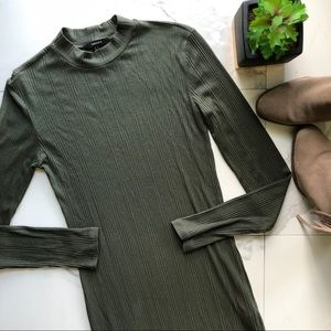 Forever 21 Olive Green Long Sleeve Fitted Dress